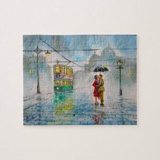 rainy day romantic couple umbrella tram painting puzzle