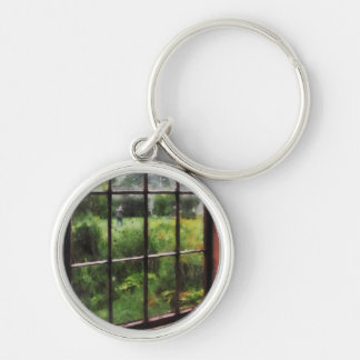 Rainy Day Silver-Colored Round Keychain