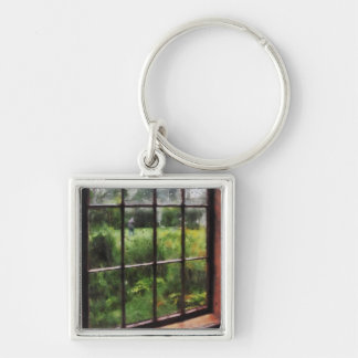 Rainy Day Silver-Colored Square Keychain