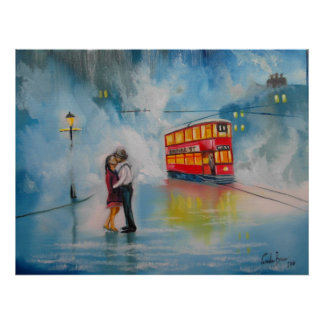 RAINY DAY UMBRELLA RED TRAM kissing couple Poster