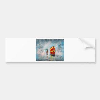 RAINY DAY UMBRELLA RED TRAM romantic couple Car Bumper Sticker