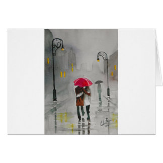 RAINY DAY UMBRELLA RED TRAM romantic couple Card