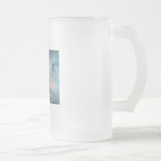 RAINY DAY UMBRELLA RED TRAM romantic couple Frosted Glass Beer Mug
