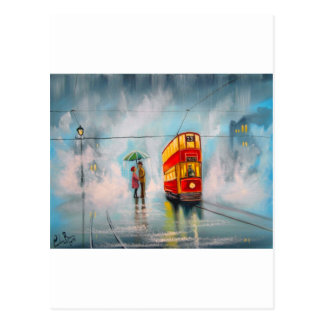 RAINY DAY UMBRELLA RED TRAM romantic couple Postcard