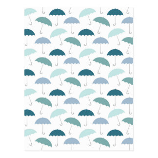 Rainy Day Umbrellas Pattern in Blues Postcard