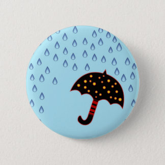 rainy day with umbrella pinback button