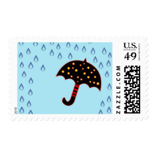 rainy day with umbrella postage