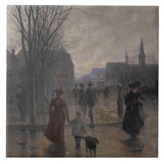 Rainy Evening on Hennepin Avenue, c.1902 Ceramic Tile