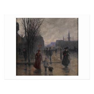 Rainy Evening on Hennepin Avenue, c.1902 Postcard