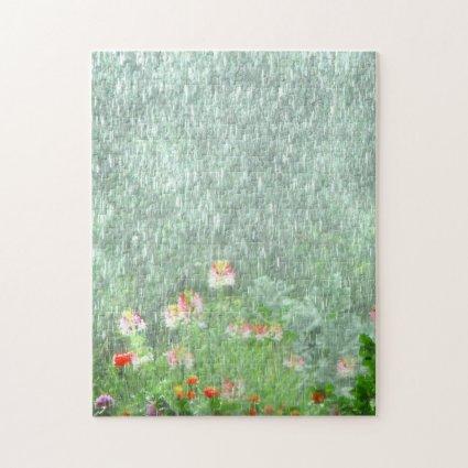 Rainy Flower Garden Floral Green Puzzle