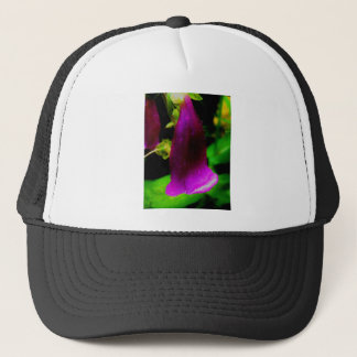 Rainy foxglove trucker hat