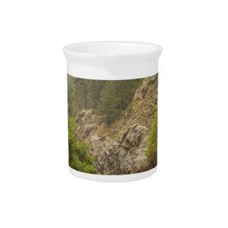 Rainy Misty Boulder Creek and Boulder Canyon Drive Beverage Pitcher
