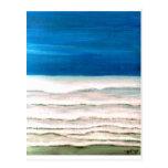 Rainy Morning Beach Surf Ocean Waves Painting Postcard