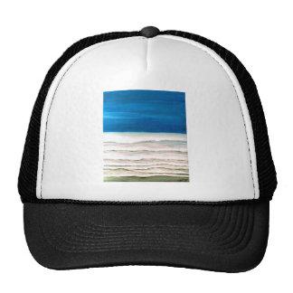 Rainy Morning Beach Surf Ocean Waves Painting Trucker Hat