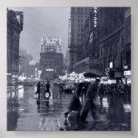 Rainy New York Night (vintage) Poster