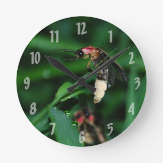 Rainy Night Lightning Bug Round Clock