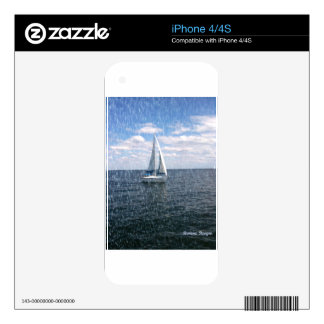 Rainy Sail Boat Decal For iPhone 4