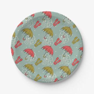 Rainy Season Umbrella Design Paper Plate