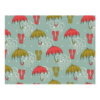 Rainy Season Umbrella Design Postcard
