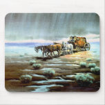 RAINY STAGECOACH by SHARON SHARPE Mouse Pads