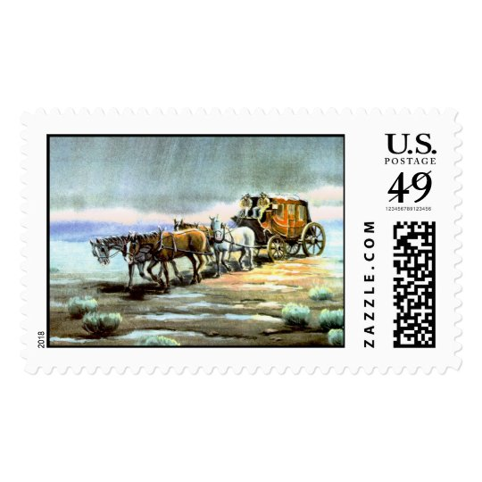 RAINY STAGECOACH by SHARON SHARPE Postage