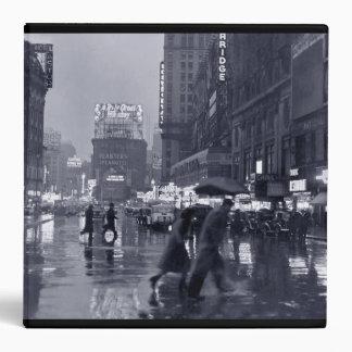 Rainy Times Square night, 1940s 3 Ring Binder