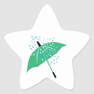 Rainy Umbrella Star Sticker