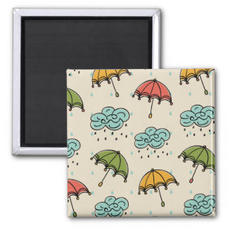 Rainy Water drops and Umbrellas 2 Inch Square Magnet