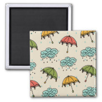 Rainy Water drops and Umbrellas Magnet