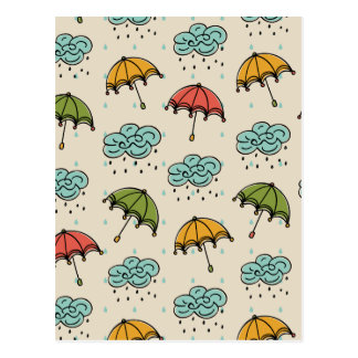 Rainy Water drops and Umbrellas Postcard