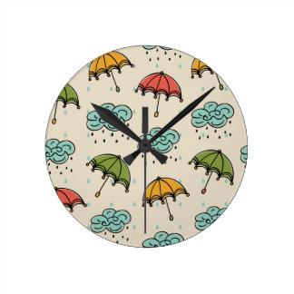 Rainy Water drops and Umbrellas Round Clock