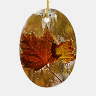 Rainy Window Maple Leaves Ceramic Ornament