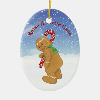 Raise A Little Cane Humor Double-Sided Oval Ceramic Christmas Ornament