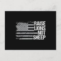 Raise Lions Not Sheep - American Patriot - Veteran Announcement Postcard