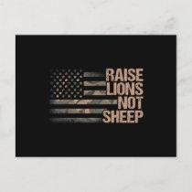 Raise Lions Not Sheep - Patriotic Lion US Patriot Announcement Postcard