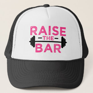 Raise the Bar funny fitness gym saying hat pink