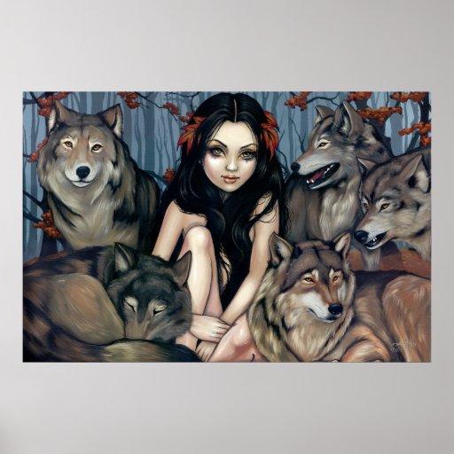 Raised by Wolves fantasy wolf dog Art Print