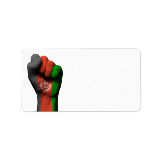 Raised Clenched Fist with Afghan Flag Label