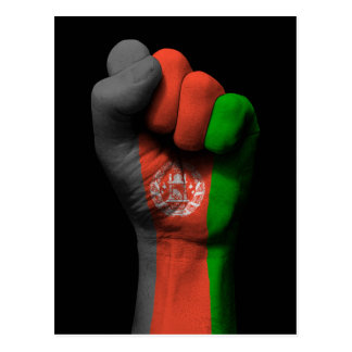 Raised Clenched Fist with Afghan Flag Postcard