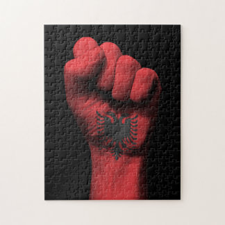 Raised Clenched Fist with Albanian Flag Jigsaw Puzzles