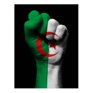 Raised Clenched Fist with Algerian Flag Postcard