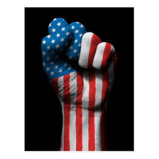 Raised Clenched Fist with American Flag Postcard