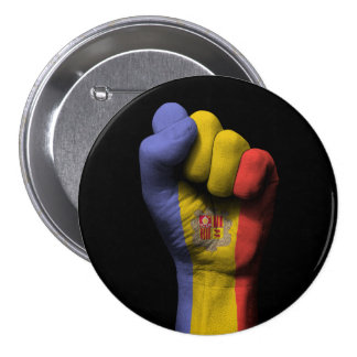 Raised Clenched Fist with Andorra Flag 3 Inch Round Button
