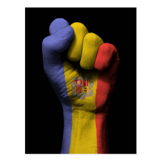Raised Clenched Fist with Andorra Flag Postcard