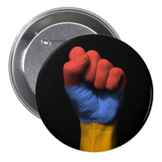 Raised Clenched Fist with Armenian Flag 3 Inch Round Button