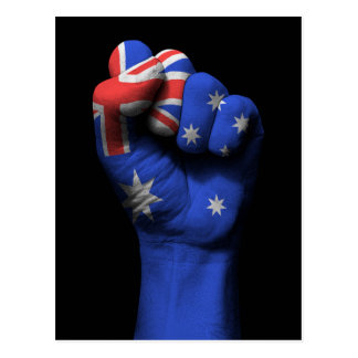 Raised Clenched Fist with Australian Flag Postcard