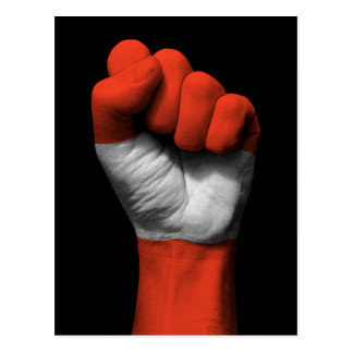 Raised Clenched Fist with Austrian Flag Postcard