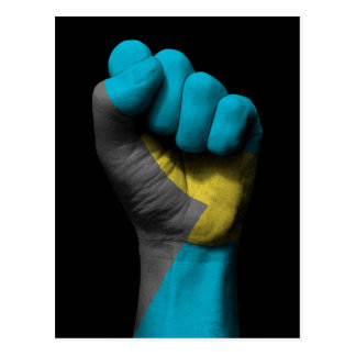 Raised Clenched Fist with Bahamas Flag Postcard