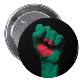 Raised Clenched Fist with Bangladesh Flag 3 Inch Round Button