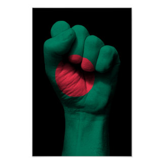 Raised Clenched Fist with Bangladesh Flag Poster